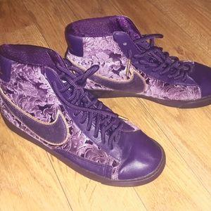 Purple crushed velvet nike high top sneaker